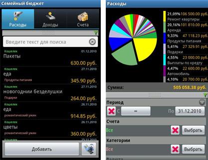 Семейный бюджет интерфейс